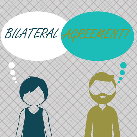 Conceptual hand writing showing Bilateral Agreement. Concept meaning Legal obligations to nonbinding agreements of principle Bearded Man and Woman with the Blank Colorful Thought Bubble