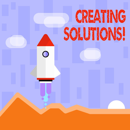 Writing note showing Creating Solutions. Business concept for Make ways to solve a problem or dealing with situation Colorful Spacecraft Shuttle Launching New Business Startup