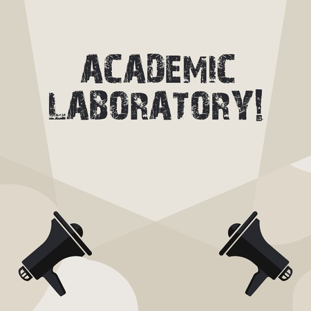 Conceptual hand writing showing Academic Laboratory. Concept meaning where students can go to receive academic support Spotlight Crisscrossing Upward from Megaphones on the Floor