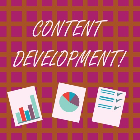 Conceptual hand writing showing Content Development. Concept meaning Authoring and originating content for any medium Presentation of Bar, Data and Pie Chart Graph on White Paper