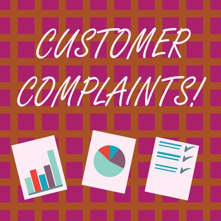 Conceptual hand writing showing Customer Complaints. Concept meaning expression of dissatisfaction on a consumer s is behalf Presentation of Bar, Data and Pie Chart Graph on White Paper Stockfoto