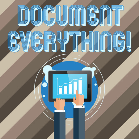 Text sign showing Document Everything. Business photo text computer file that contains text that you have written Businessman Hand Touching Pointing to Bar Line Chart on Smartphone Screen