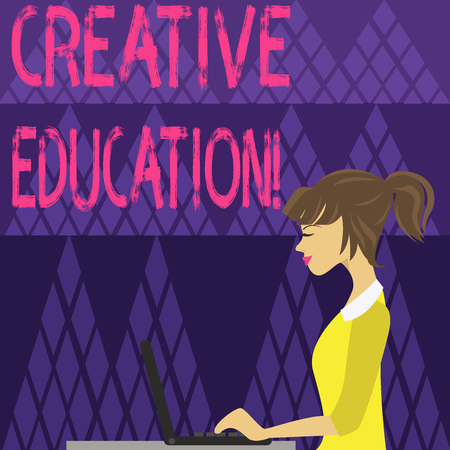 Writing note showing Creative Education. Business concept for students able to use imagination and critical thinking photo of Young Busy Woman Sitting Side View and Working on her Laptop