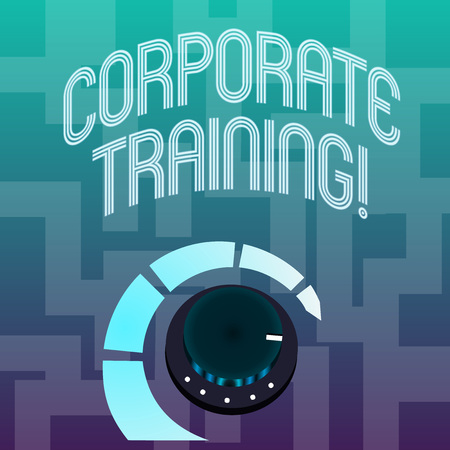 Text sign showing Corporate Training. Business photo text improving the employees perforanalysisce morale and skills Volume Control Metal Knob with Marker Line and Colorful Loudness Indicator Stock Photo