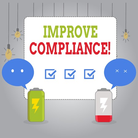 Writing note showing Improve Compliance. Business concept for action or fact of complying with a wish or comanalysisd Fully Charge and Discharge Battery with Emoji Speech Bubble