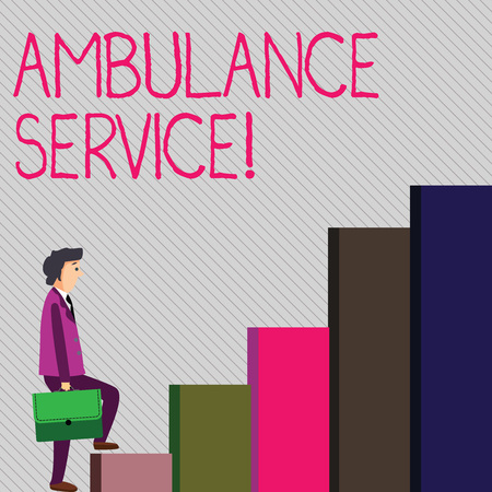 Conceptual hand writing showing Ambulance Service. Concept meaning emergency response wing of the National Health Service Man Carrying a Briefcase in Pensive Expression Climbing Up