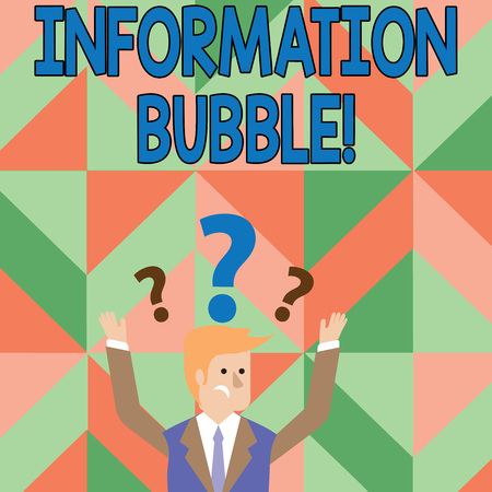 Text sign showing Information Bubble. Business photo showcasing phenomenon that limits an individual s is exposure Confused Businessman Raising Both Arms with Question Marks Above his Head Imagens