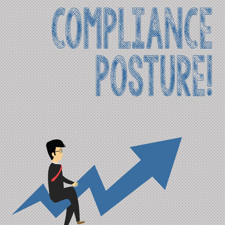 Writing note showing Compliance Posture. Business concept for analysisage the defense of the enterprise and assure resources Businessman with Eyeglasses Riding Crooked Arrow Pointing Up 스톡 콘텐츠
