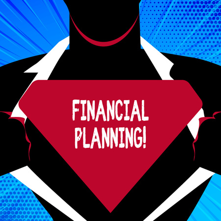 Handwriting text writing Financial Planning. Conceptual photo determining how a business will afford to achieve goal Man in Pose Opening his Shirt to reveal the Blank Triangular