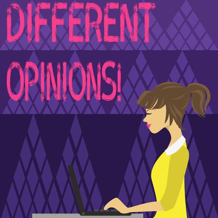 Schreiben Hinweis mit unterschiedlichen Meinungen. Geschäftskonzept für einen Konflikt von gegensätzlichen Ideen oder Einstellungen oder Zielen Foto einer jungen beschäftigten Frau, die Seitenansicht sitzt und an ihrem Laptop arbeitet