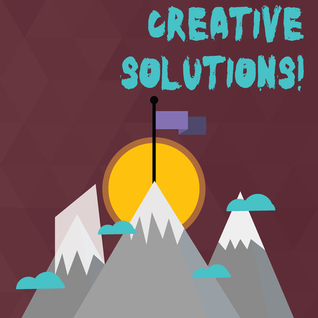 Conceptual hand writing showing Creative Solutions. Concept meaning mental process of creating a solution to a problem Three High Mountains with Snow and One has Flag at the Peak