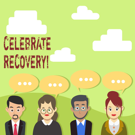 Handwriting text Celebrate Recovery. Conceptual photo recovery program for anyone struggling with hurt or pain Group of Business People with Blank Color Chat Speech Bubble with Three Dots