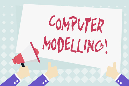 Conceptual hand writing showing Computer Modelling. Concept meaning using a computer to make a model of a plan or design Hand Holding Megaphone and Gesturing Thumbs Up Text Balloon Stok Fotoğraf