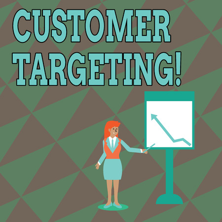 Text sign showing Customer Targeting. Business photo text business process that defines which customers to market Businesswoman Holding Stick Pointing to Chart of Arrow Upward on Whiteboard