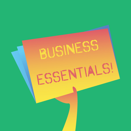 Text sign showing Business Essentials. Business photo showcasing important key ideas to improve business skills Hand Holding and Raising Blank Space Colorful File Folder with Sheet Inside