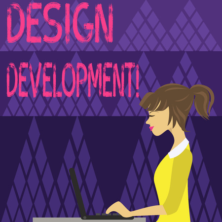 Writing note showing Design Development. Business concept for technical aspects of materials and building systems photo of Young Busy Woman Sitting Side View and Working on her Laptop