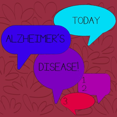 Handwriting text Alzheimer S Is Disease. Conceptual photo Advanced mental deterioration that occur in old age Many Color Speech Bubble in Different Sizes and Shade for Group Discussion