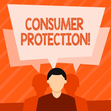 Word writing text Consumer Protection. Business photo showcasing regulation that aim to protect the rights of consumers Faceless Man has Two Shadows Each has Their Own Speech Bubble Overlapping