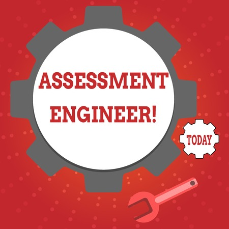 Writing note showing Assessment Engineer. Business concept for gives solutions to the complexities of developing tests Wheel Gear and Wrench Mechanical Tool for SEO and Web Icon Standard-Bild