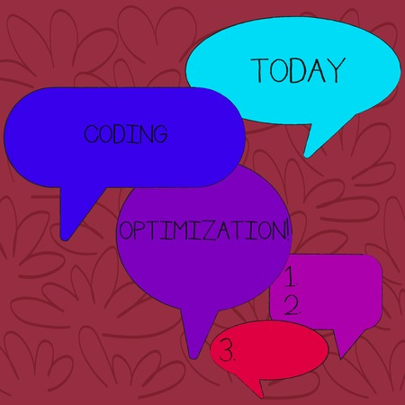 Handwriting text Coding Optimization. Conceptual photo method of code modification to improve code quality Many Color Speech Bubble in Different Sizes and Shade for Group Discussion