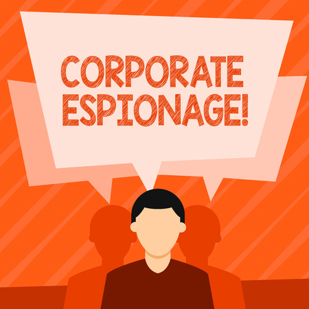 Word writing text Corporate Espionage. Business photo showcasing form of espionage conducted for commercial purpose Faceless Man has Two Shadows Each has Their Own Speech Bubble Overlapping Banco de Imagens