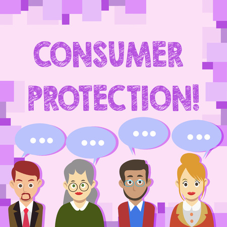 Conceptual hand writing showing Consumer Protection. Concept meaning regulation that aim to protect the rights of consumers Group of Business People with Speech Bubble with Three Dots Standard-Bild