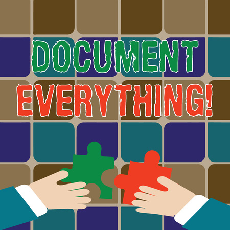 Writing note showing Document Everything. Business concept for computer file that contains text that you have written Hands Holding Jigsaw Puzzle Pieces about Interlock the Tiles Banque d'images