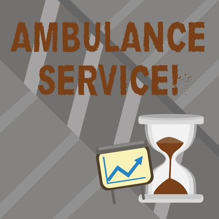 Word writing text Ambulance Service. Business photo showcasing emergency response wing of the National Health Service Successful Growth Chart with Arrow Going Up and Hourglass with Sand Sliding Stock Photo