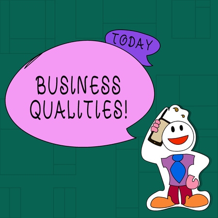 Handwriting text Business Qualities. Conceptual photo meeting the needs and expectations of customers Smiley Face Man in Necktie Holding Smartphone to his Head in Sticker Style Reklamní fotografie