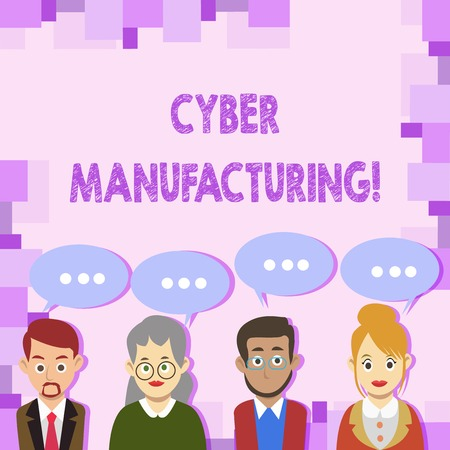 Conceptual hand writing showing Cyber Manufacturing. Concept meaning transformative concept that aims the translation of data Group of Business People with Speech Bubble with Three Dots