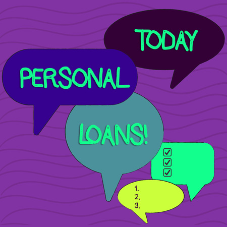 Conceptual hand writing showing Personal Loans. Concept meaning unsecured loan and helps you meet your financial needs Speech Bubble in Different Sizes and Shade Group Discussion Imagens