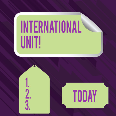 Conceptual hand writing showing International Unit. Concept meaning the internationally accepted amount of a substance Color Label Self Adhesive Sticker with Border Corner and Tag