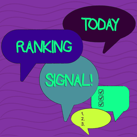 Conceptual hand writing showing Ranking Signal. Concept meaning characteristic of a website that search engine algorithms Speech Bubble in Different Sizes and Shade Group Discussion Stok Fotoğraf
