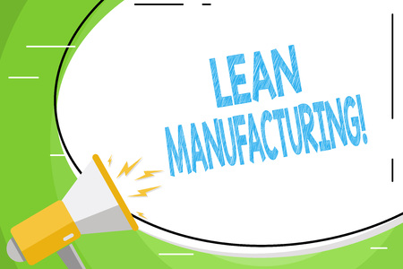 Text sign showing Lean Manufacturing. Business photo showcasing focus on minimizing waste within analysisufacturing systems Blank White Huge Oval Shape Sticker and Megaphone Shouting with Volume Icon