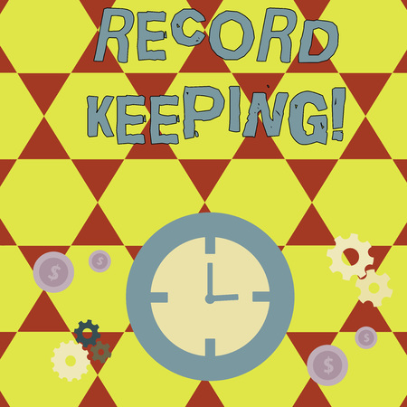 Conceptual hand writing showing Record Keeping. Concept meaning The activity or occupation of keeping records or accounts Time Management Icons of Clock, Cog Wheel Gears and Dollar Фото со стока