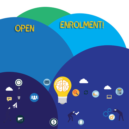 Writing note showing Open Enrolment. Business concept for period during which members can choose an alternate plan Business Digital Marketing Symbol, Element and Concept Icons Фото со стока