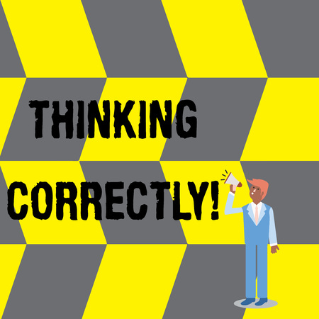 Text sign showing Thinking Correctly. Business photo text principle that you think are sensible and morally correct Businessman Looking Up, Holding and Talking on Megaphone with Volume Icon Banque d'images - 122025008