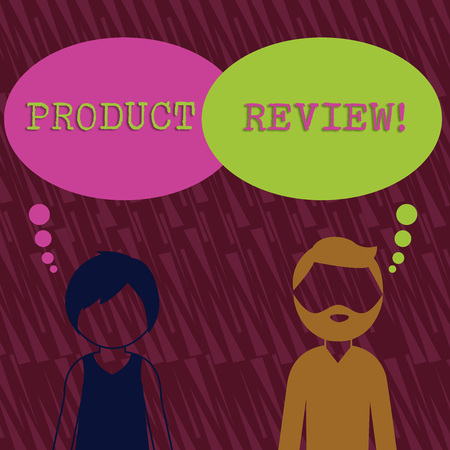 Text sign showing Product Review. Business photo text Customers rate and comment on products they have purchased Bearded Man and Woman Faceless Profile with Blank Colorful Thought Bubble