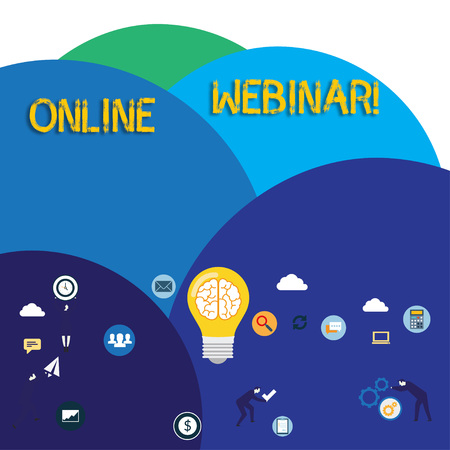 Writing note showing Online Webinar. Business concept for online meeting or presentation held via the Internet Business Digital Marketing Symbol, Element and Concept Icons