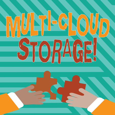 Conceptual hand writing showing Multi Cloud Storage. Concept meaning use of multiple cloud computing and storage services Hands Holding Jigsaw Puzzle Pieces about Interlock the Tiles 版權商用圖片