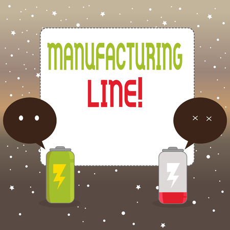 Handwriting text writing Manufacturing Line. Conceptual photo set of sequential operations established in a factory Fully Charged and Discharged Battery with Two Colorful Emoji Speech Bubble
