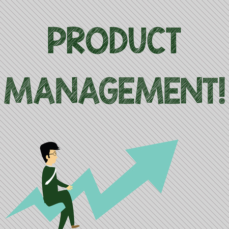 Text sign showing Product Management. Business photo text organisational lifecycle function within a company Businessman with Eyeglasses Riding Crooked Color Arrow Pointing Going Up Banco de Imagens