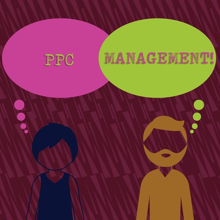 Text sign showing Ppc Management. Business photo text process of overseeing and analysisaging a company s is PPC ad spend Bearded Man and Woman Faceless Profile with Blank Colorful Thought Bubble