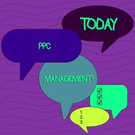 Conceptual hand writing showing Ppc Management. Concept meaning process of overseeing and analysisaging a company s is PPC ad spend Speech Bubble in Different Sizes and Shade Group Discussion Stock fotó