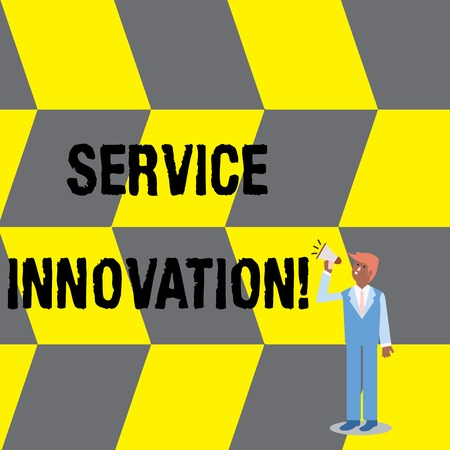 Text sign showing Service Innovation. Business photo text changing the way you serve better your customers Businessman Looking Up, Holding and Talking on Megaphone with Volume Icon