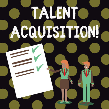 Text sign showing Talent Acquisition. Business photo showcasing process of finding and acquiring skilled huanalysis labor Man and Woman in Business Suit Presenting Report of Check and Lines on Paper