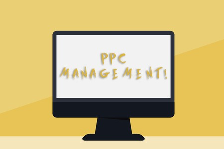 Word writing text Ppc Management. Business photo showcasing process of overseeing and analysisaging a company s is PPC ad spend Blank Space Desktop Computer Colorful Monitor Screen Freestanding on Table