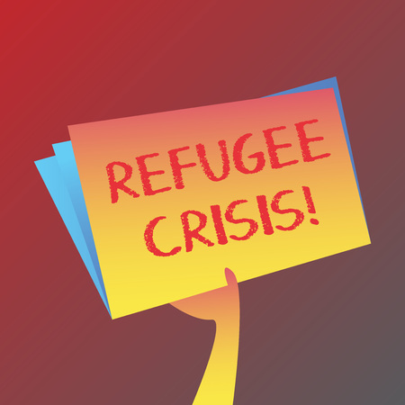Conceptual hand writing showing Refugee Crisis. Concept meaning refer to movements of large groups of displaced showing Hand Holding Blank Space Color File Folder with Sheet Inside Stockfoto