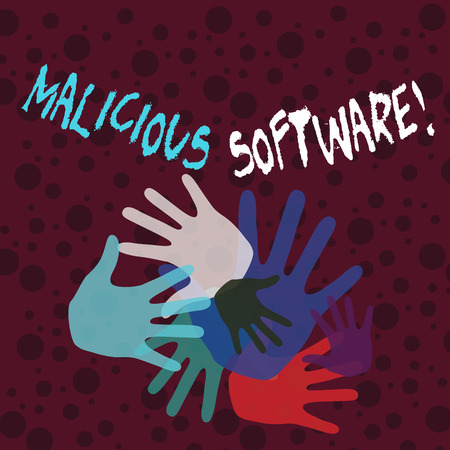 Handwriting text writing Malicious Software. Conceptual photo the software that brings harm to a computer system Color Hand Marks of Different Sizes Overlapping for Teamwork and Creativity