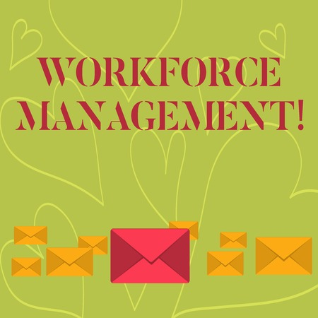 Handwriting text writing Workforce Management. Conceptual photo use to optimize the productivity of its employees Pastel Color Closed Envelopes in Different Sizes with Big one in the Middle